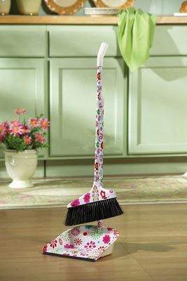 Bright Neon Floral Pattern Broom Dust Pan Set