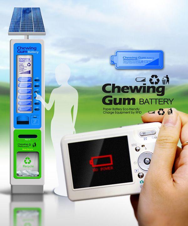 [Concepts] Batterien wie Kaugummis – aus dem Solar-Automat  Es geht nämlich darum, Batterien im Kaugummi-Format (daher offenbar der Name) im Mehrfachpack aus einer Maschine zu ziehen, in der sie zuvor mittels Solarzellen aufgeladen wurden.