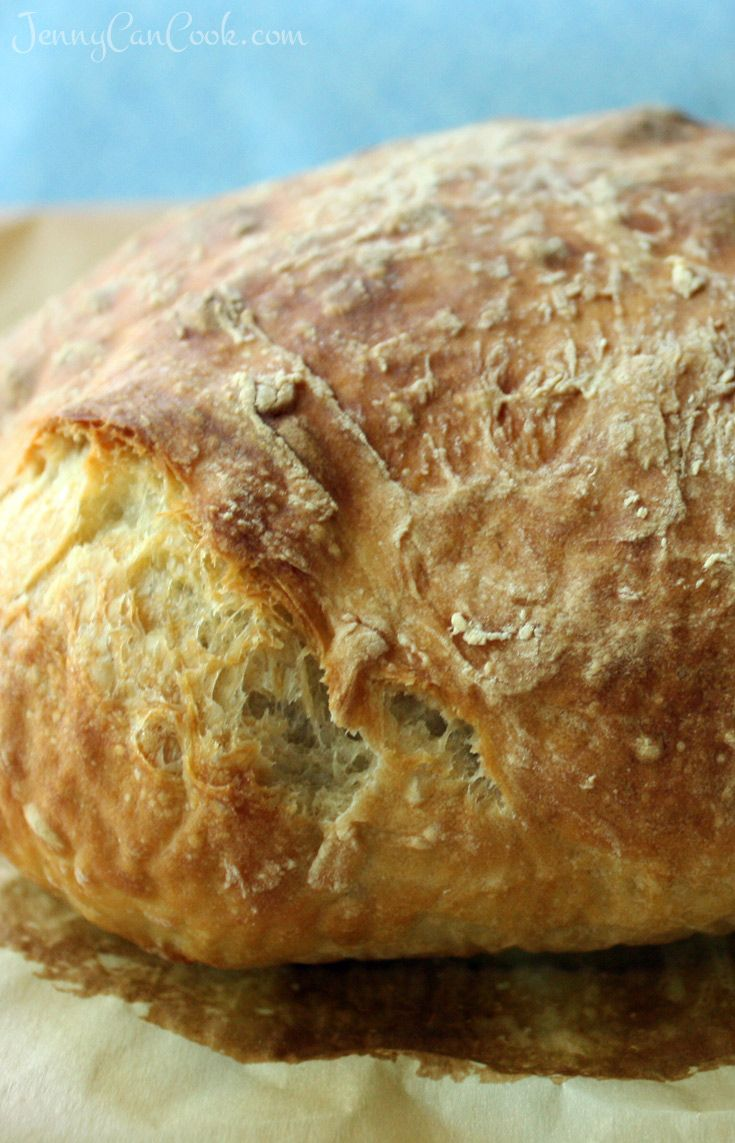 No Knead / No Dutch Oven Bread recipe from Jenny Jones (Jenny Can Cook) Easy loaf bakes on a baking sheet. No Dutch oven needed.