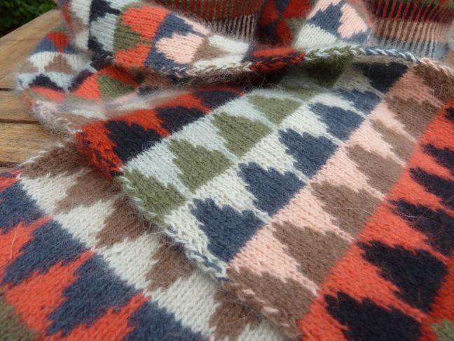 Stickpaket - Dubbelstickad halsduk och mössa, små granar - röd | AngoraGarnet Silfverberg AB
