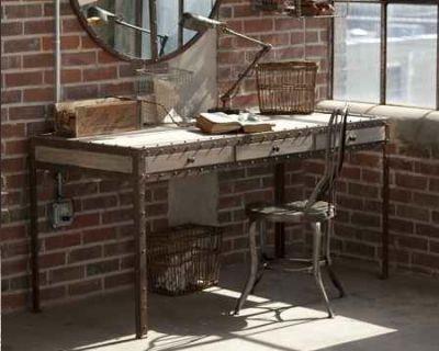Brick Backdrop - Eclectic Desk & Lamp - Houzz