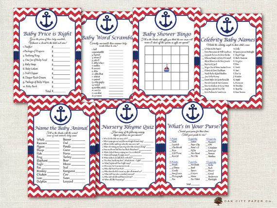 Nautical Baby Shower Games  Nautical Shower by OakCityPaperCompany