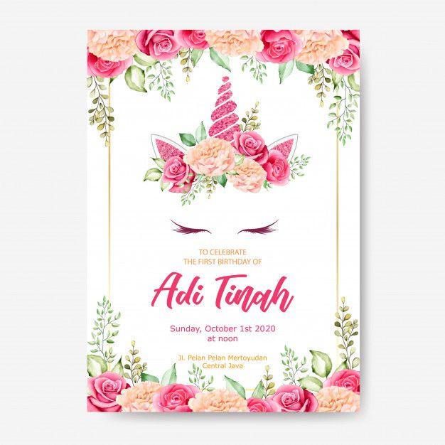 Birthday Invitation Card Template Cute Unicorn Graphic With Flower Wreath Plantillas Para Invitacion De Cumpleanos Tarjetas De Invitacion Invitaciones De Cumpleanos