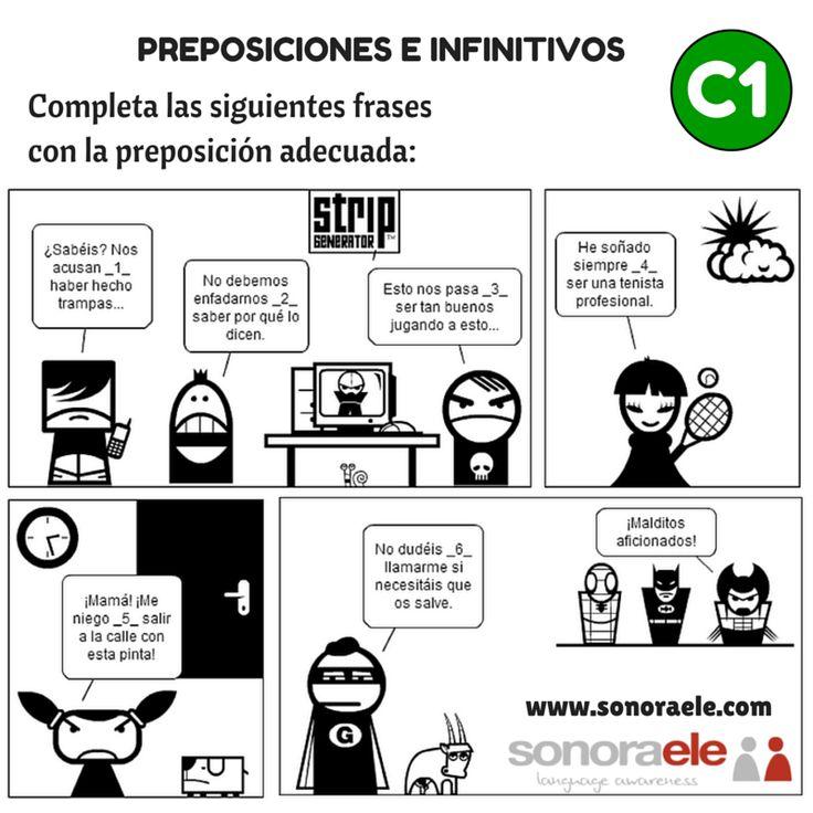 C1 - Preposiciones e infinitivo. [Actividad completa en el blog Online Spanish - Sonora ELE.]