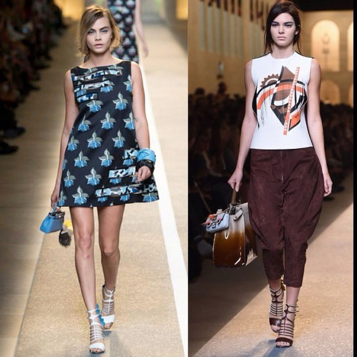 Cara Delevigne and Kendall Jenner rocking for @fendi Fendi MFW