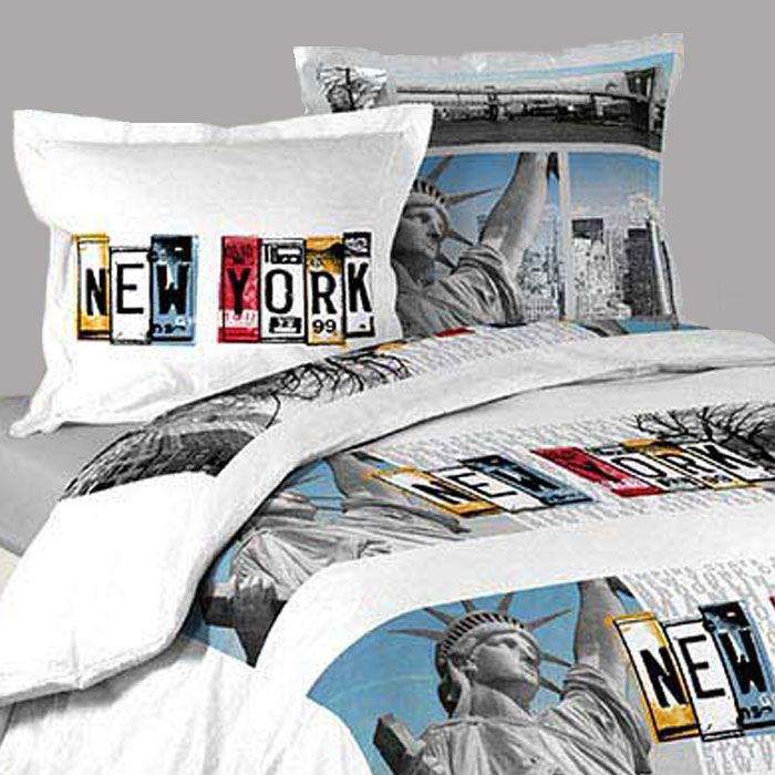 Housse de couette new york white 2 taies d oreillers - Housse de couette new york ...