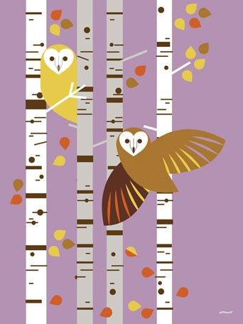 """Forest Owl Birch"" modern canvas wall art by Eleanor Grosch for Oopsy daisy, Fine Art for Kids $59: Forests Owl, Birches Trees, Eleanor Grosch, Owl Phones Wallpapers, Canvas Wall Art, Owl Families, Desktop Wallpapers, Owl Birches, Desktop Photos"