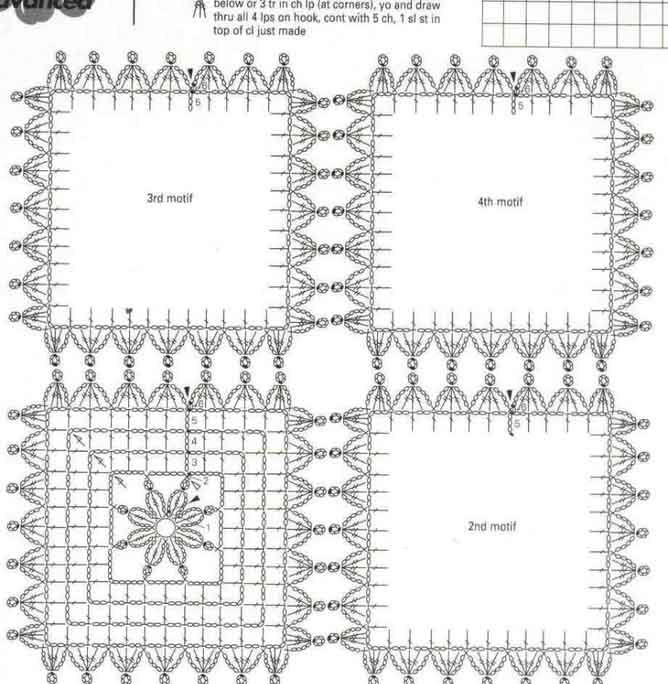 Длинные жилеты крючком из квадратных мотивов. Схемы вязания