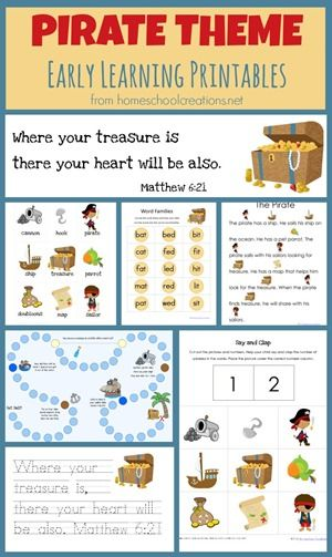 Free pirate theme printables for early childhood (preschool and kindergarten) ages.