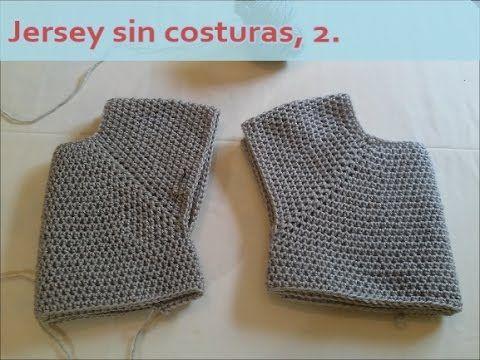 Jersey sin costuras, versión 2, para añadir el cuello al final. Crochet. - YouTube