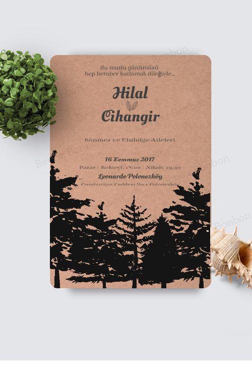 Rustic wedding invitation from Beyaz Bonbon
