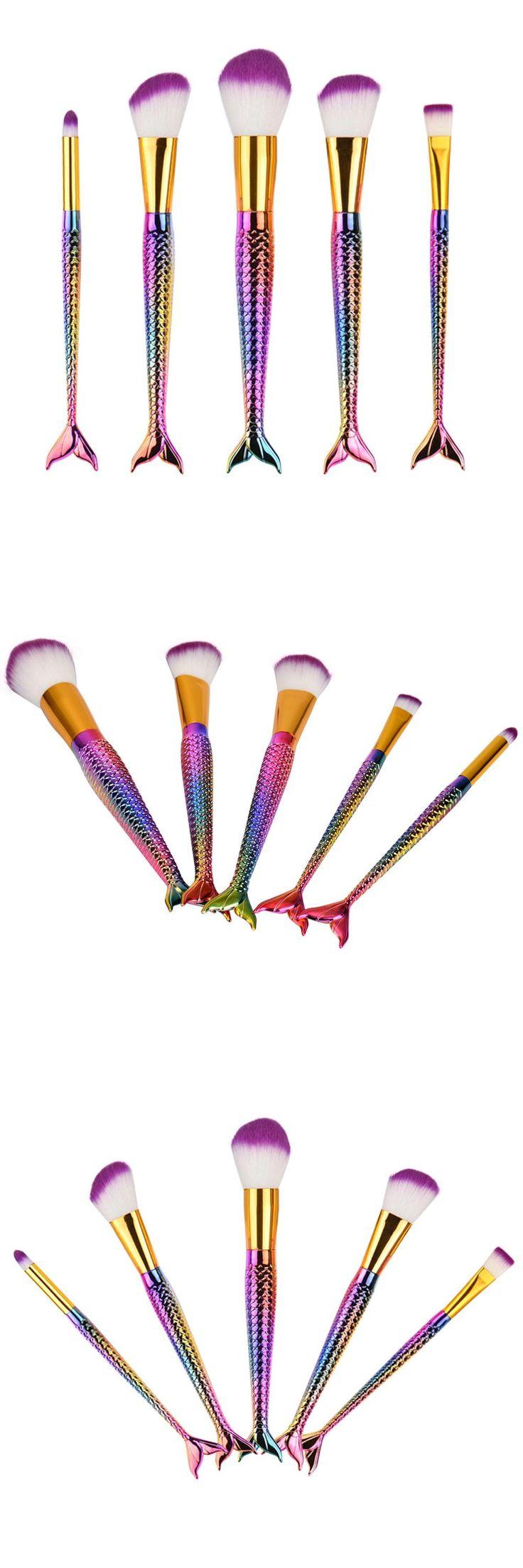 [Visit to Buy] 5pcs/Set Mermaid Tail Cosmetic Makeup Brushes Kit Foundation Eyebrow Eyeliner Blush Powder Brush #Advertisement