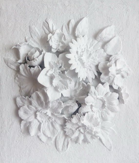 Sculptural Wall Art White Bas Relief Gypsum Panel Wedding Wall Decor Flowers 3d Plaster Relief Embo Wall Sculpture Art Wedding Wall Decorations Flower Artwork