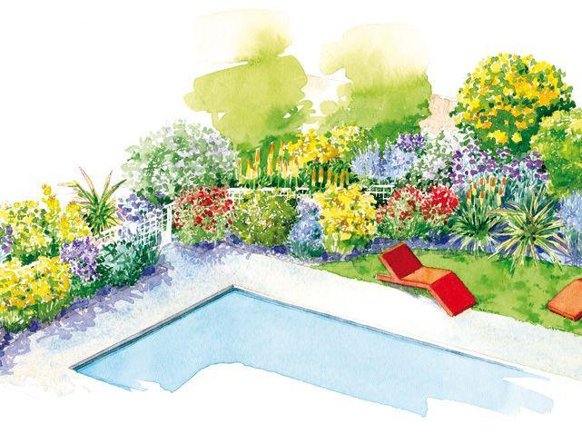 Envie d'ajouter de la verdure et des fleurs au bord de votre piscine ? Découvrez cette proposition d'aménagement de jardin. Choix des plantes en fonction du sol...