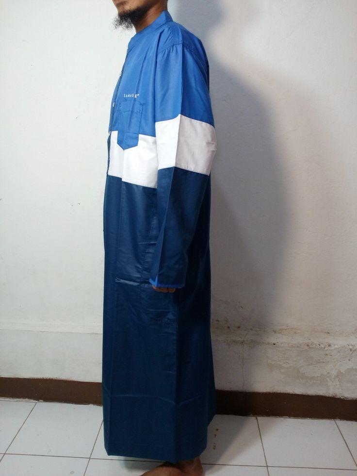 Baju Kurung Laki-Baju Gamis Atas Mata Kaki-Baju Jubah Pria Warna Biru Dongker-Putih Biru muda-Baju Muslim Samase