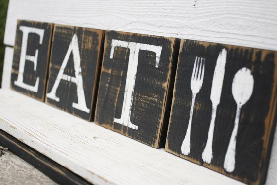 Eat Sign Blocks and Fork Spoon Knife Block Rustic by SignShack
