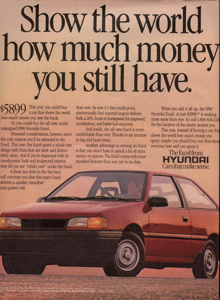 1990 Hyundai Excel ad  Rolling Stone December 24, 1989