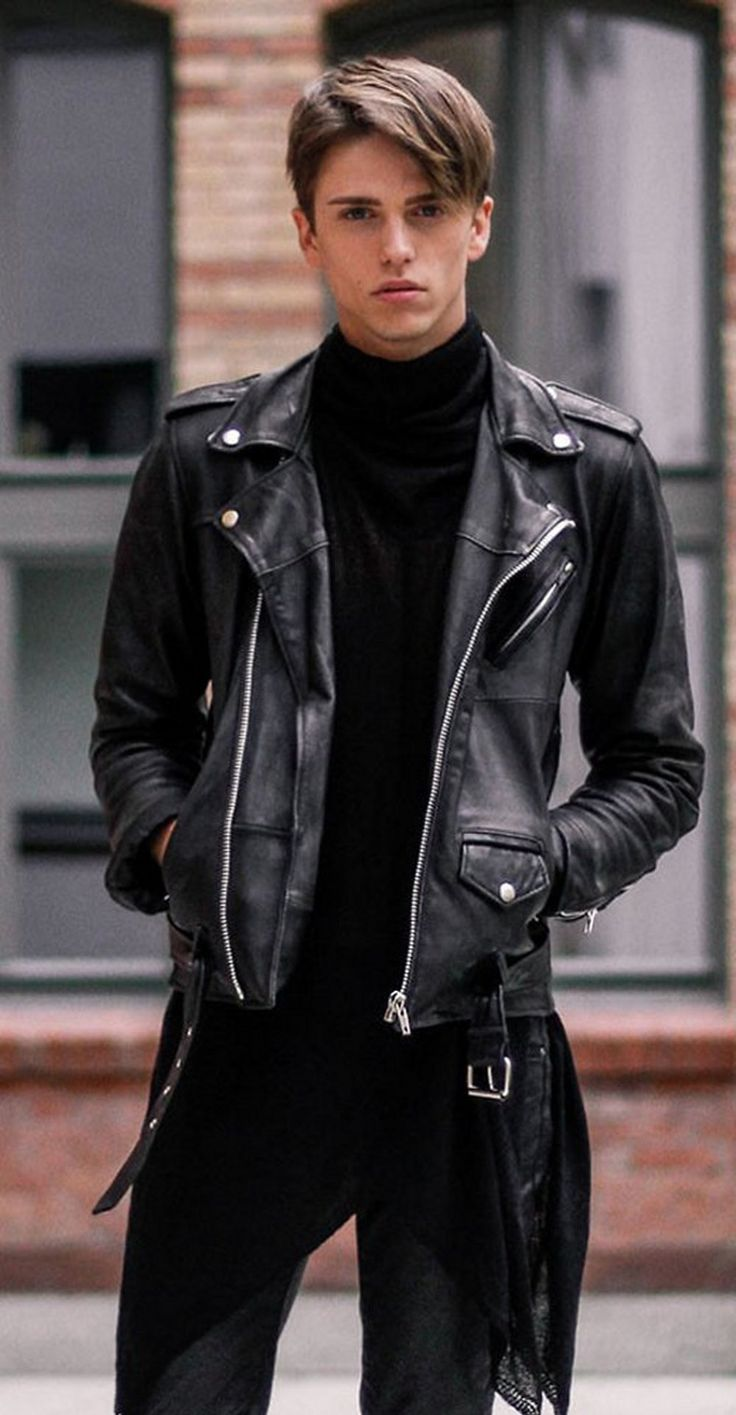 Fashion look from december 2014 featuring mens sweatshirts mens - Leather Lovin Boyy Lthrlvr Coolboysinleather Georg Mallner Black Leather Biker Jacketleather Jacketsmasculine Stylefashion Menmen S