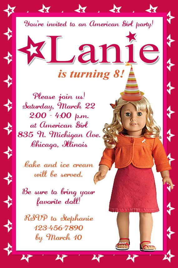 17 Best images about American Girl Birthday – American Girl Doll Party Invitations