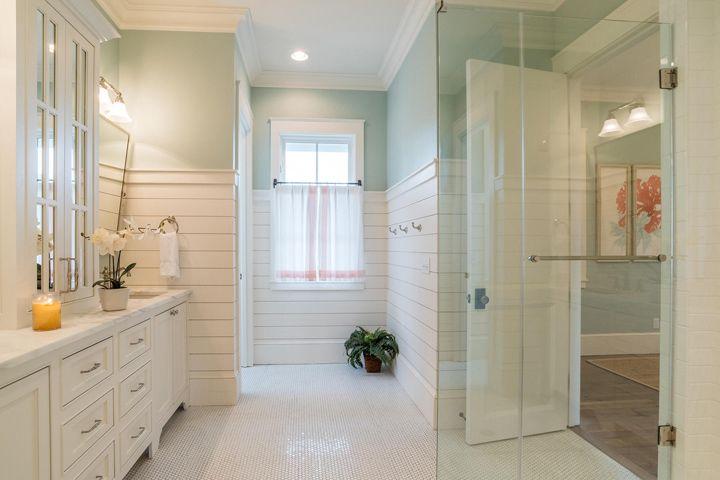 aqua blue and white coastal bathroom with shiplap