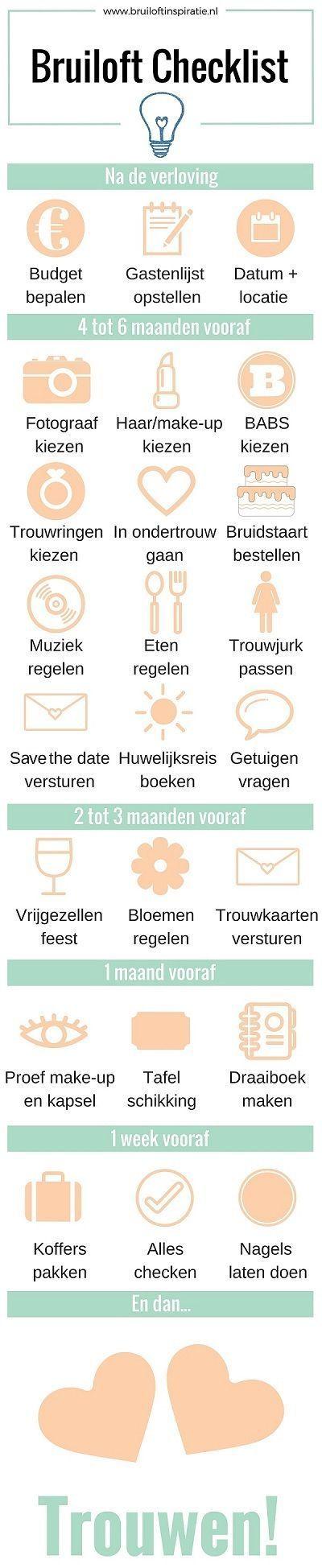 Bruiloft Checklist, uitgebreide informatie op de website