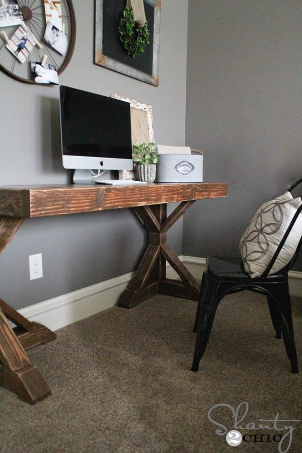 Hey there! Join us on Instagram and Pinterest to keep up with our most recent projects and sneak peeks! The design is inspired after my Dining Table that you can see HERE. I love it so much that I decided to build a desk very similar. I hit up our friend, Jamison a.k.a. Rogue Engineer …