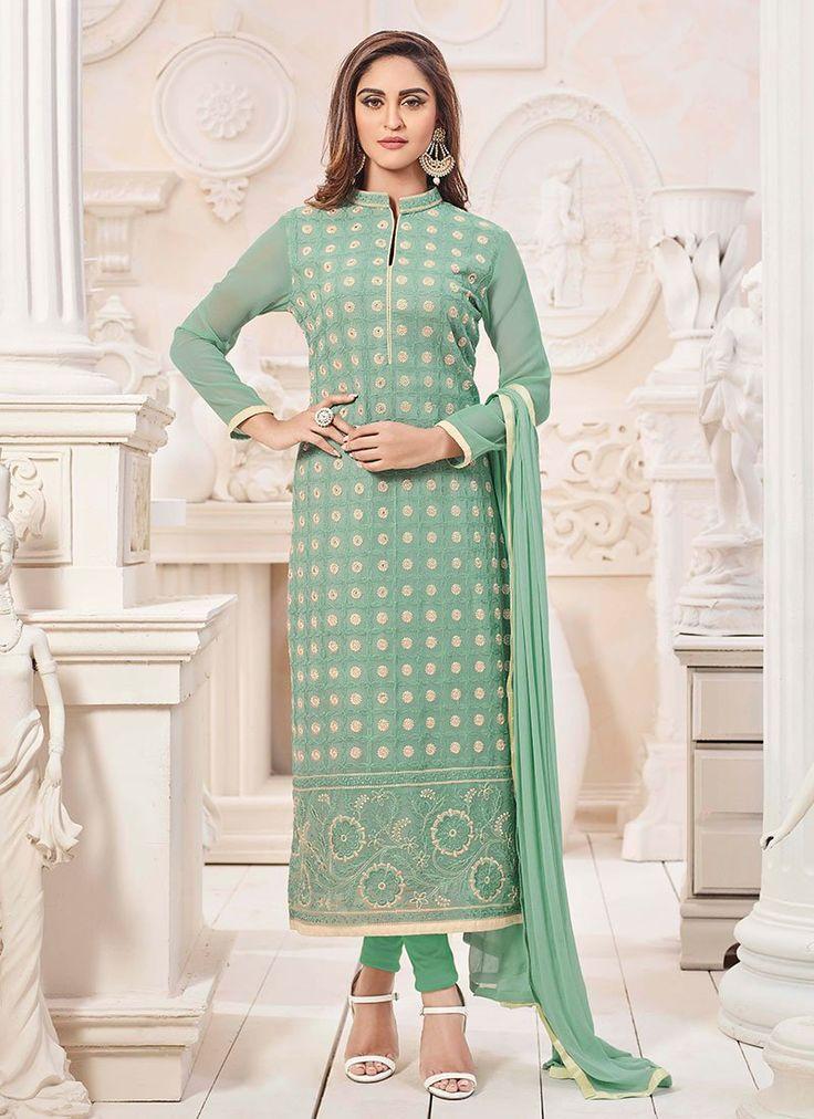 Buy Krystle Dsouza Light Green Georgette Straight Suit, straight-suit Online Shopping, SLSSE4418BK3935