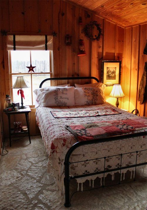 Cabin bedroom. That bed is beautiful and I just love this small space. Very cozy and inviting.