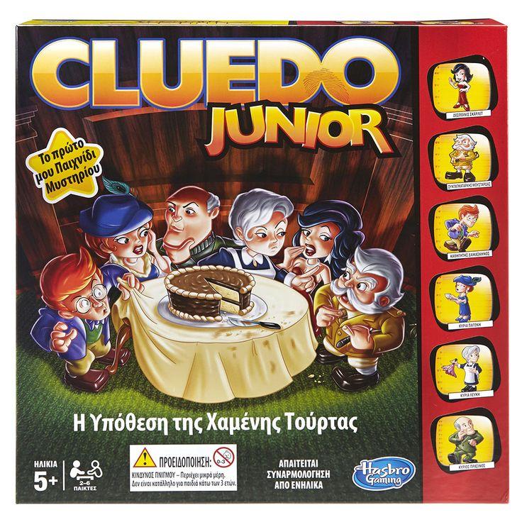 CLUEDO JUNIOR, το πρώτο παιχνίδι μυστηρίου για παιδιά!  H Υπόθεση της Χαμένης Τούρτας! Γίνε ντεντέκτιβ και δες αν μπορείς να λύσεις αυτό το γλυκό μυστήριο! Ανακάλυψε ποιος έφαγε το γλυκό, τι ώρα ήταν και τι ήπιαν μαζί με το γλυκό.  Λύστε το μυστήριο της χαμένης τούρτας και απολαύστε 30` οικογενειακής διασκέδασης.  Περιεχόμενα:  Ταμπλό παιχνιδιού, 6 πιόνια χαρακτήρων, 6 πιόνια επίπλων, 7 λευκές βάσεις, 7 κίτρινες βάσεις, σημειωματάριο ντετέκτιβ, ζάρι, φύλλο με αυτοκόλλητα, οδηγίες παι...