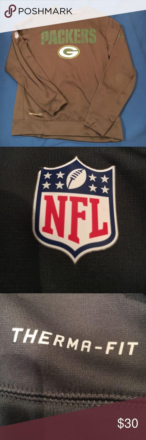 Packers NFL Sweatshirt Therma- Fit Excellent Condition... Packers NFL Nike Sweatshirt. Grey and Green. It is a Therma- Fit Sweatshirt NFL Shirts Sweatshirts & Hoodies