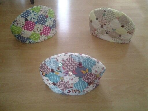 Hand made patchwork tea cosies with button detail