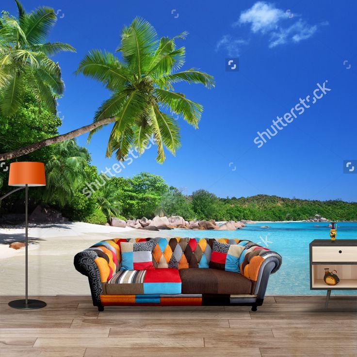 Fotobehang Strand Seychellen | Maak het jezelf eenvoudig en bestel fotobehang voorzien van een lijmlaag bij YouPri om zo gemakkelijk jouw woonruimte een nieuwe stijl te geven. Voor het behangen heb je alleen water nodig! #behang #fotobehang #print #opdruk #afbeelding #diy #behangen #zomer #vakantie #tropisch #zee #oceaan #strand