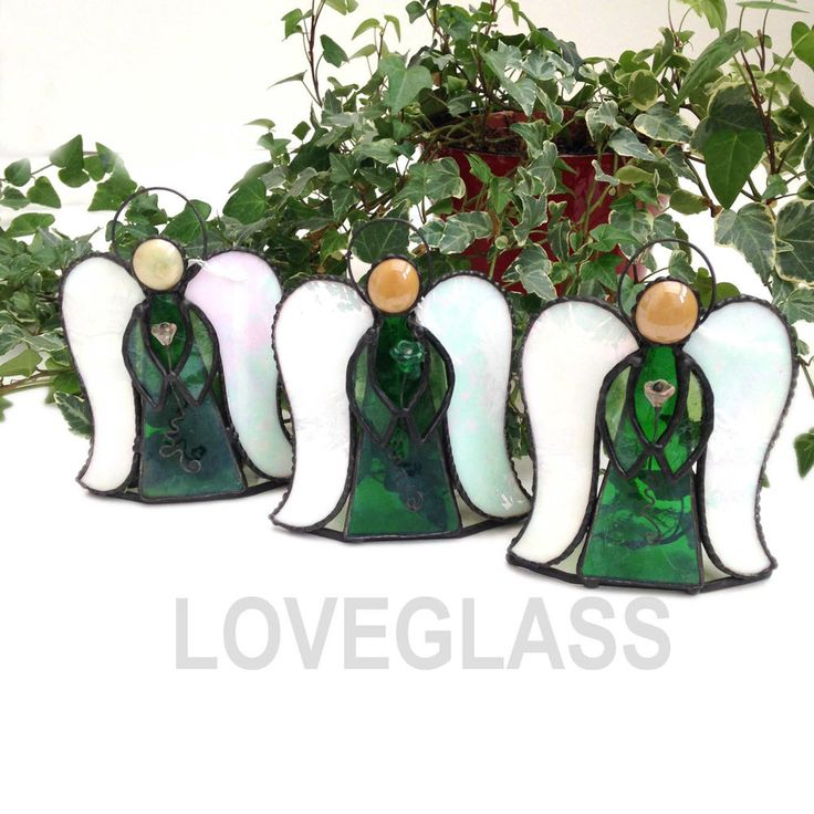 TEA LIGHT CANDLE HOLDER GREEN ANGEL Stained Glass, Gift, Decoration,