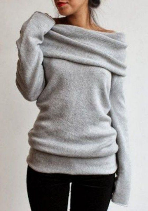 Grey Plain Turndown Collar Long Sleeve Pullover Sweater - Pullovers - Sweaters - Tops
