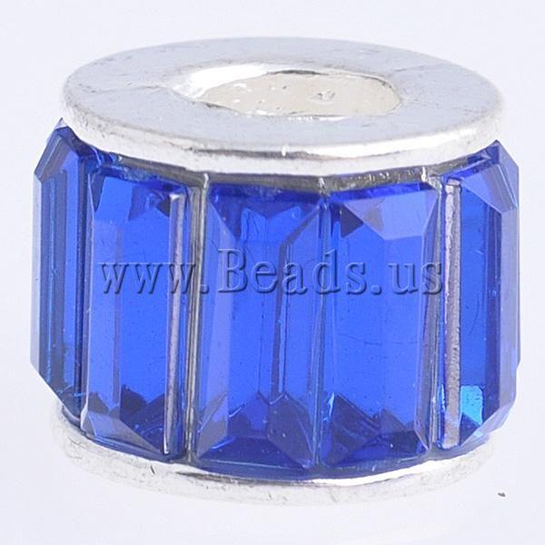 Цинковый сплав европейский бусины, костюм ювелирные изделия, rondelle, с акриловые горный хрусталь и без тролля, темно-синий, никель