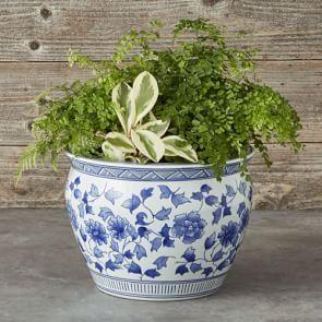 Blue White Ceramic Planter Extra Large Williams 400 x 300
