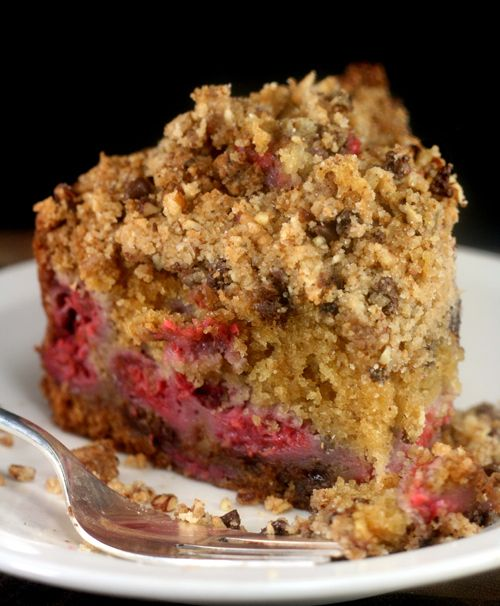Super Moist Brown Butter Raspberry Cake with loads of Chocolate Chip Toasted Pecan Streusel - Amazing without the raspberries, too!