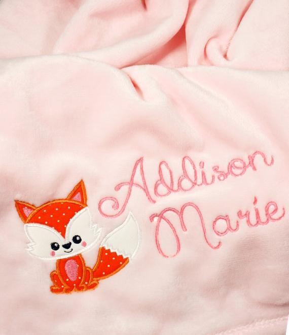 Baby Blanket Fox Baby Shower Gift Baby Boy Blanket Embroidered Baby Blanket Baby Blankets Personalized Personalized Baby Blanket