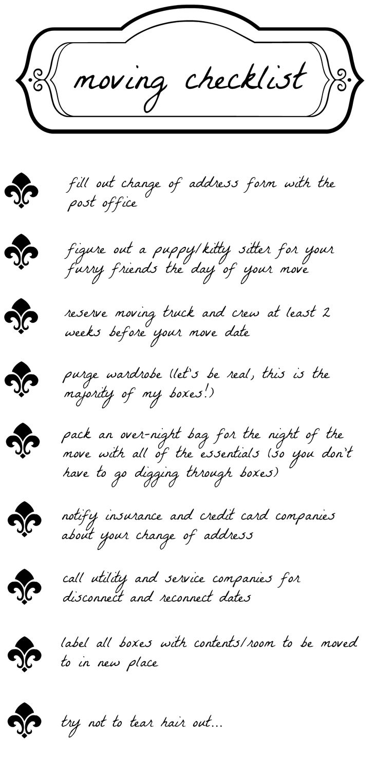 moving checklist  Repinned by www.movinghelpcenter.com Follow us on Facebook!