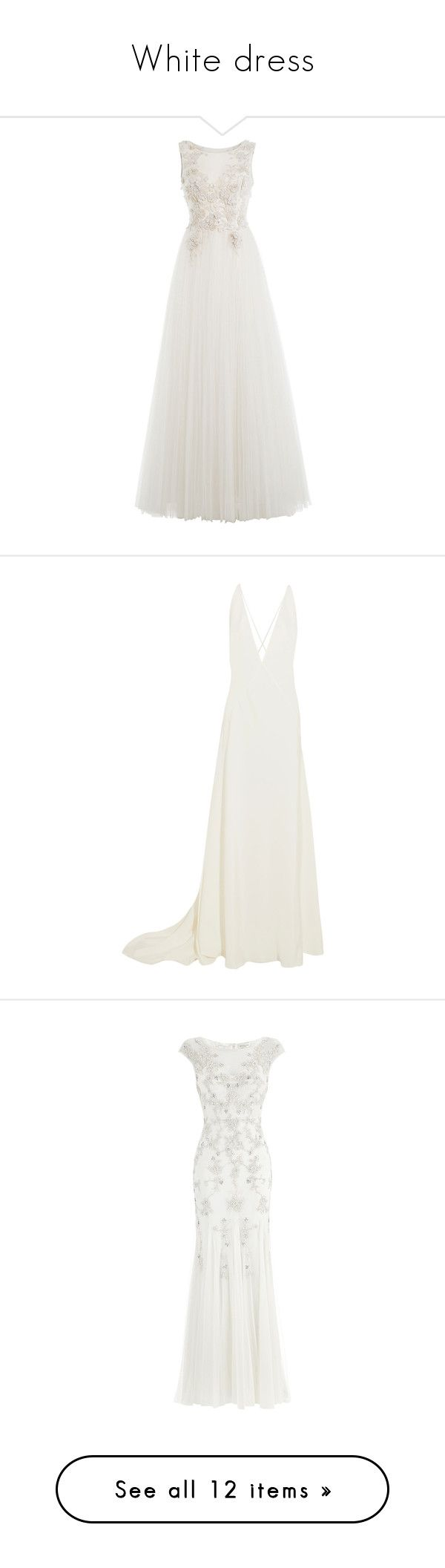 """""""White dress"""" by llviktoria ❤ liked on Polyvore featuring dresses, gowns, long dresses, white, bridal gowns, white gown, white tulle dress, beaded gown, bridal dresses and vestidos"""