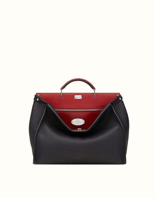 FENDI   PEEKABOO small black Roman leather handbag