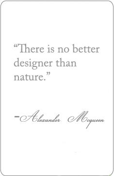 There is no better designer than nature. Alexander McQueen.