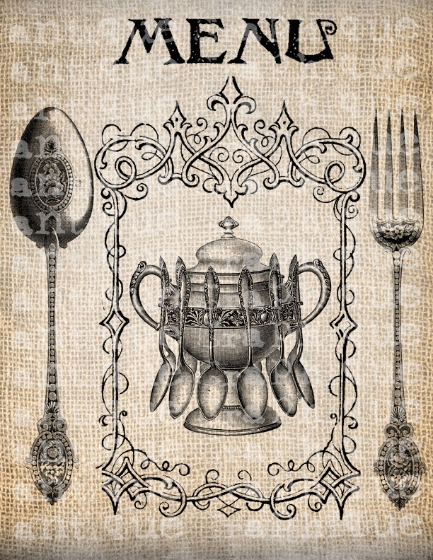 Antique Spoon Fork Menu Vintage Illustration Digital Download for Tea Towels, Papercrafts, Transfer, Pillows, etc Burlap  No 5055. $1.00, via Etsy.