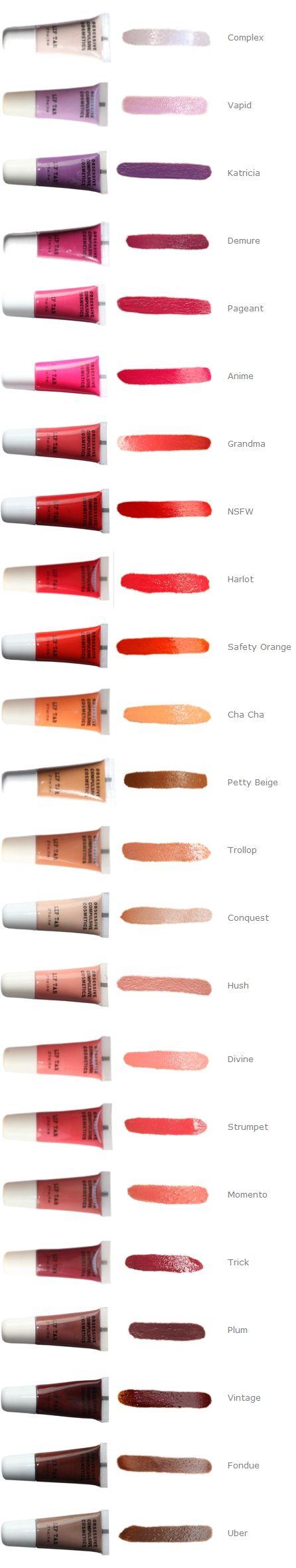OCC Lip Tar Colour Swatch