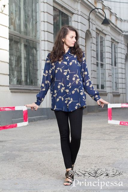 Printed Oversized WashedVoile Shirt by PrincipessaLabel on Etsy, $45.00