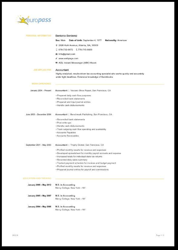 Europass Cv Template In Minutes Cv Templates Myperfectcv Cv Template Cv Design Template Best Cv Template