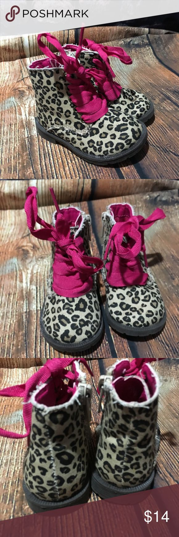Children's Place Canvas Leopard Ankle Boots 4 The Children's Place high top canvas boots girl's toddler size 4 shoe brown animal print, zip up sides, pink laces canvas upper, man made sole gently used.  no defects. outer sole measures about 5 3/4 inches inner sole measures about 4 3/4 inches measure 3 3/4 inches high Children's Place Shoes Baby & Walker