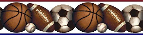 Lunarland SPORTS BALLS Wall Sticker Border Basketball Soccer Football Baseball Room Decor -- More info could be found at the image url.