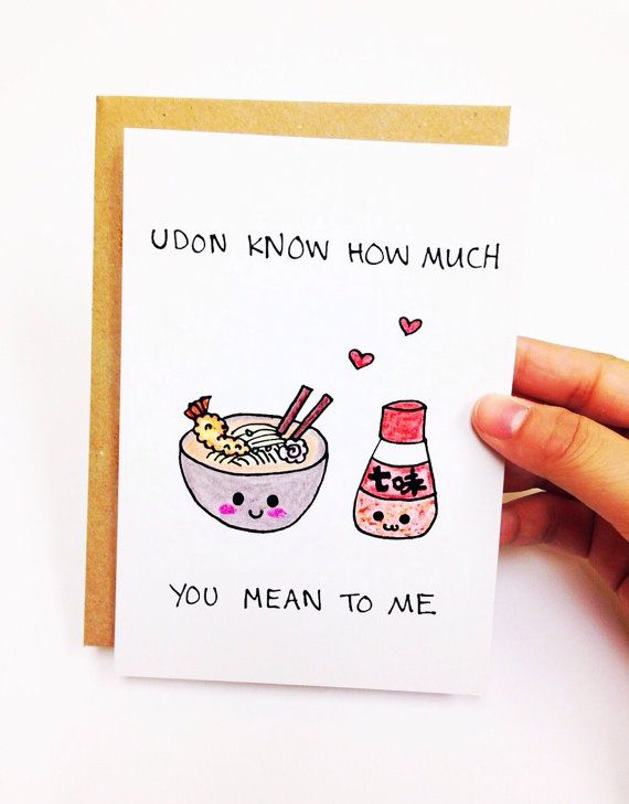 Udon know how much you mean to me. ♥ Design is hand drawn by yours truly using good ol pencil crayons, then scanned and printed on high quality