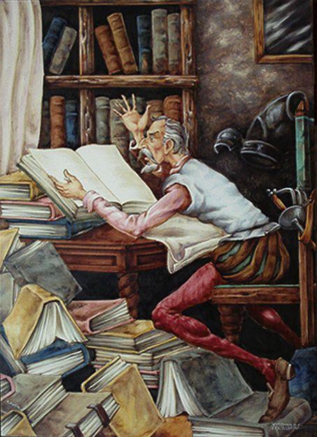 Don Quijote leyendo en la biblioteca inemerso en su afición favorita, le lectura de libros de caballería!